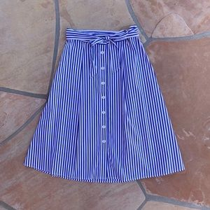 Talbots Striped Tie Waist Button Front Midi Skirt